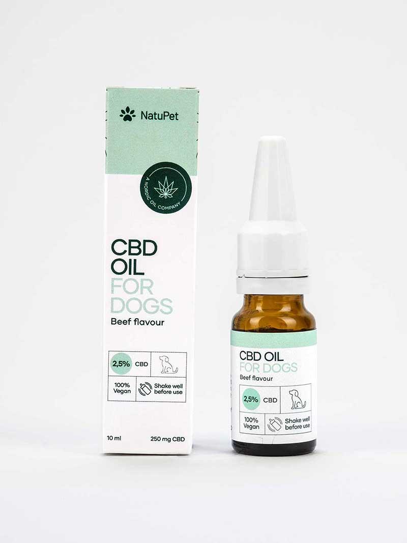 Olio CBD per cani 2.5% (10ml) con aroma di manzo